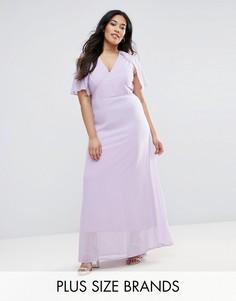 Платье макси с накидкой на спине Club L Plus - Фиолетовый