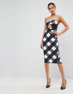 Платье-бандо длины миди в клеточку ASOS - Мульти
