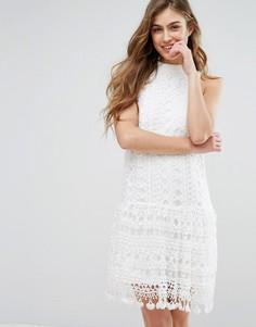 Ажурное цельнокройное платье с заниженной талией Missguided - Белый