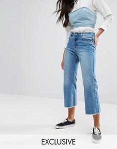 Широкие укороченные джинсы с необработанными краями Liquor & Poker - Синий