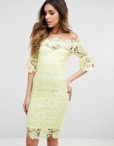 Кружевное платье миди с расклешенными рукавами 3/4 Paper Dolls - Желтый