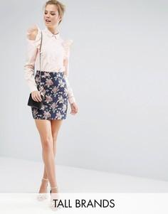Жаккардовая мини-юбка с цветочным рисунком Fashion Union Tall - Мульти