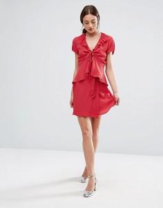Мини-юбка с запахом Newlily - Красный
