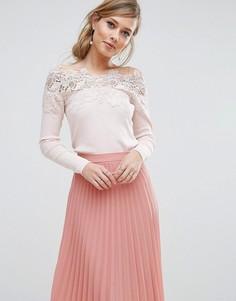 Вязаный кружевной топ с открытыми плечами Coast Lileth - Розовый