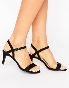 Босоножки на среднем каблуке из искусственной замши New Look - Черный