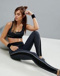 Спортивные леггинсы с леопардовым принтом в тон и контрастной окантовкой Elle Sport - Черный