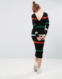 Платье-джемпер в полоску с V-образным вырезом на спине ASOS - Мульти