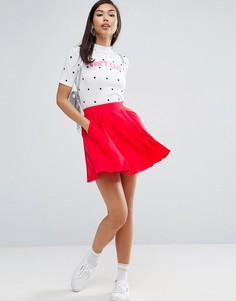Мини-юбка со складками ASOS - Красный