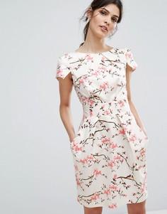 Платье мини с короткими рукавами и цветочным принтом Closet London - Мульти