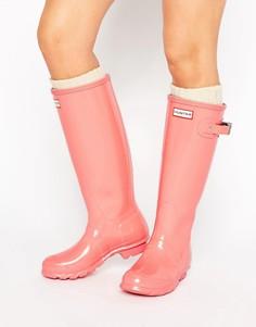 Розовые высокие глянцевые резиновые сапоги Hunter Original - Розовый