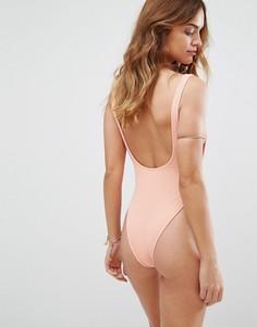 Слитный купальник с глубоким вырезом на спине Motel - Розовый