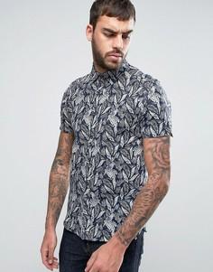 Узкая рубашка с короткими рукавами и принтом Ted Baker - Темно-синий