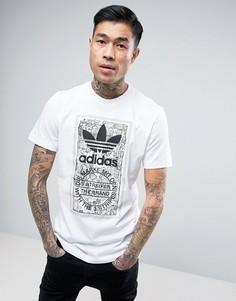 Белая футболка с принтом adidas Originals BP8988 - Белый
