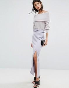 Длинная атласная юбка с разрезом Jaeger - Фиолетовый