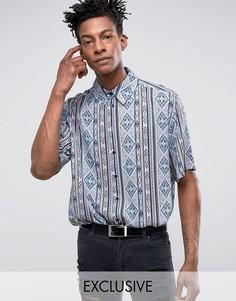 Синяя рубашка классического кроя с ацтекским принтом Reclaimed Vintage Inspired - Синий