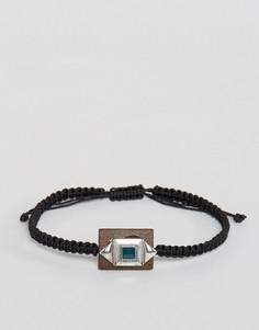 Плетеный браслет с деревянной подвеской ASOS - Коричневый