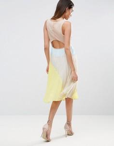 Плиссированное платье миди колор блок ASOS - Мульти
