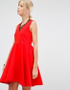 Короткое приталенное платье Sportmax Code Lauto - Красный