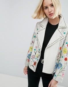 Кожаная байкерская куртка с цветочной вышивкой ASOS - Белый