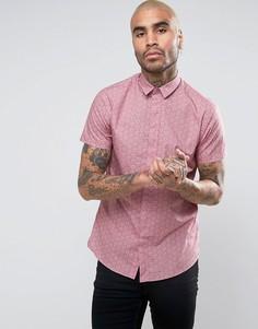 Зауженная рубашка с короткими рукавами и принтом Noose & Monkey - Розовый
