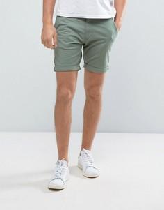 Эластичные шорты чиносы слим Selected Homme - Зеленый