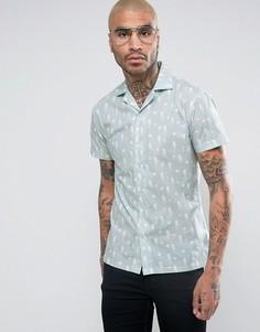 Рубашка скинни с отложным воротником Noose & Monkey - Синий