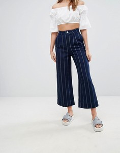 Джинсовая юбка-брюки в тонкую полоску Monki - Синий