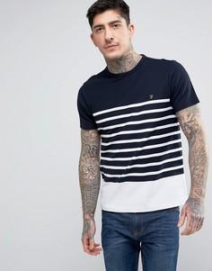 Узкая белая футболка из пике в полоску Farah Hampstead - Белый