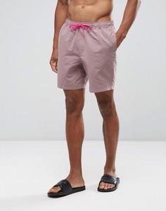 Розовые шорты для плавания средней длины с контрастными затягивающимися шнурками ASOS - Розовый
