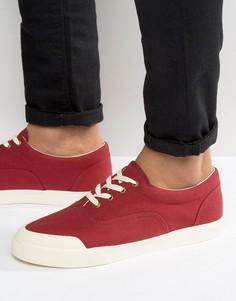 Бордовые парусиновые кеды со шнуровкой и резиновыми вставками на носке ASOS - Красный