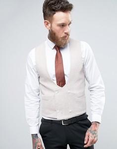 Облегающий жилет с добавлением шерсти ASOS WEDDING - Бежевый