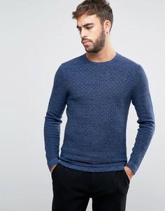 Фактурный джемпер с круглым вырезом Calvin Klein - Темно-синий