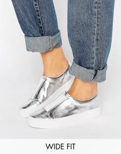 Кроссовки-слипоны для широкой стопы ASOS DAISY MAY - Серебряный