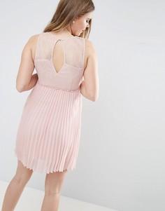 Плиссированное платье с вырезом на спине Vila - Розовый