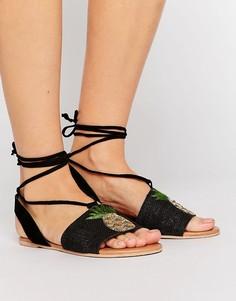 Замшевые сандалии с ананасами и завязками ASOS FELICIA - Черный