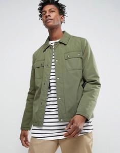 Спортивная куртка цвета хаки в стиле милитари ASOS - Зеленый