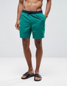 Зеленые шорты для плавания средней длины с контрастным поясом ASOS - Зеленый