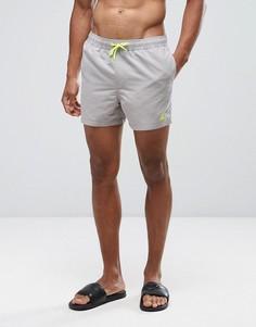 Короткие шорты для плавания песочного цвета с неоново-желтым треугольным логотипом ASOS - Бежевый