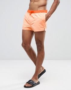 Оранжевые короткие шорты для плавания с контрастным поясом и шнурком ASOS - Оранжевый