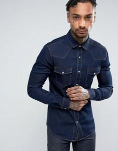 Темная джинсовая облегающая рубашка в стиле вестерн ASOS - Темно-синий