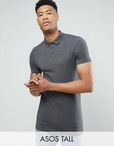 Темно-серая обтягивающая футболка-поло ASOS TALL - Серый