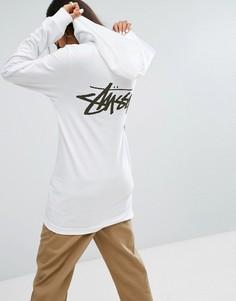 Свободная футболка с капюшоном и логотипом Stussy - Белый