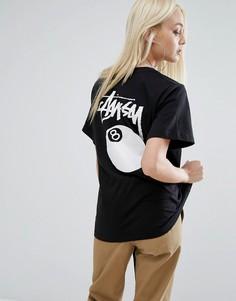 Oversize-футболка с логотипом и 8 шаром Stussy - Черный