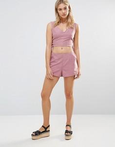 Розовые шорты из искусственной замши Neon Rose - Розовый