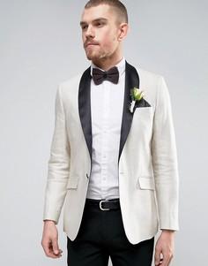 Узкий кремовый пиджак с шалевым атласным воротником Gianni Feraud Wedding - Золотой