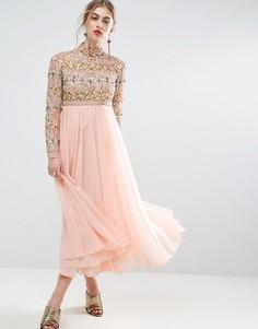 Приталенное платье миди с высокой горловиной и длинными рукавами ASOS SALON - Розовый