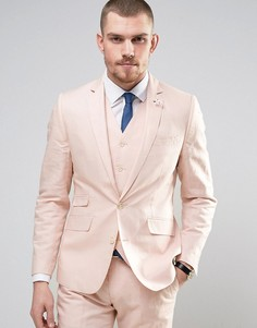 Приталенный пиджак из 55% льна с булавкой-цветком на лацкане Gianni Feraud Wedding - Розовый