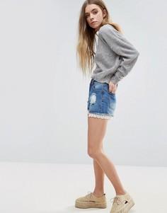 Джинсовые шорты с кружевной окантовкой Brave Soul - Синий