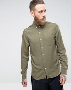 Рубашка классического кроя из вискозы цвета хаки с эффектом кислотной стирки ASOS - Зеленый