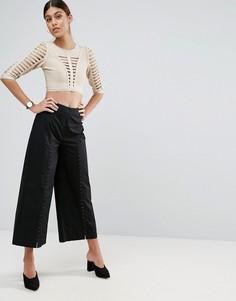 Хлопковые брюки с широкими штанинами и корсетной отделкой ASOS - Черный